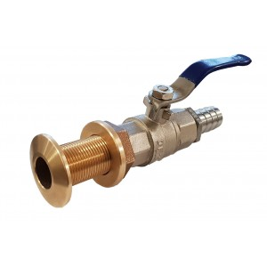 Brass Skin Fitting with Ball Valve and Tail